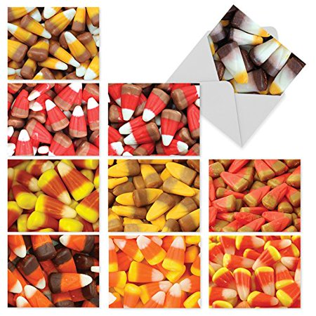 'M6003 CORNY CANDIES' 10 Assorted All Occasions Note Cards Offer Images of Halloween's Favorite Candy in All Its Varied Glory with Envelopes by The Best Card