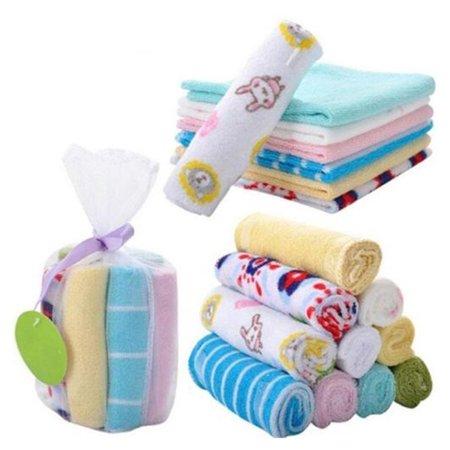 8pcs Soft Cotton Baby Face Washers Hand Towels Washing Bath Shower Wipe Nursing Towel (Random - Baby Shower Colors