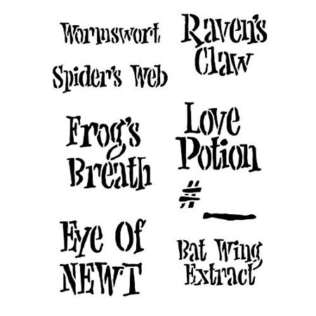 Halloween Fun Potions Labels - Raven Halloween Stencil