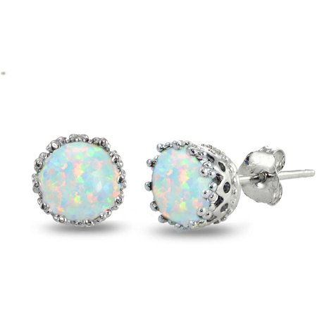 Created Opal Sterling Silver Crown Stud (Designer Tourmaline Earrings)