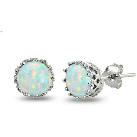 Created Opal Sterling Silver Crown Stud (Tanzanite Tourmaline Earrings)
