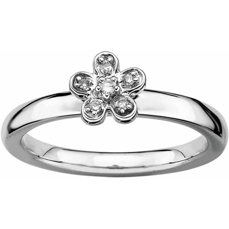 Diamond Flower Stackable Ring - Sterling Silver Stackable Expressions Flower Diamond Ring