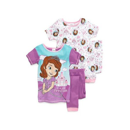 Disney Girls' Princess Gems and Royal Paws Four-Piece Pajama Set - Disney Princess For Girls