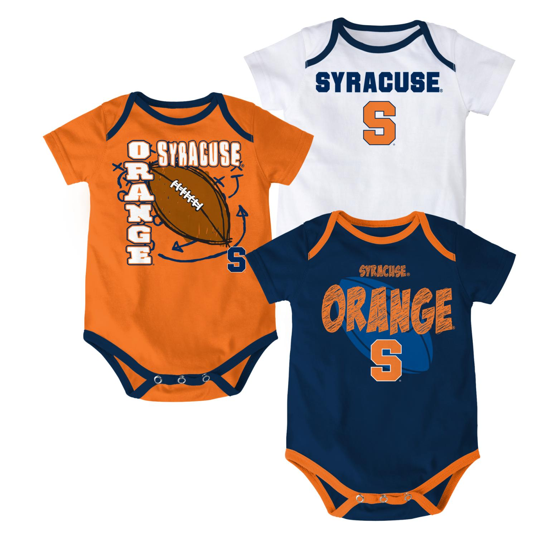 "Syracuse Orange NCAA ""3 Point Spread"" Newborn 3 Pack Bodysuit"
