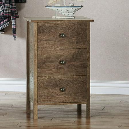 Furniture of America Daena Nightstand with 3-Drawer, Distressed Walnut