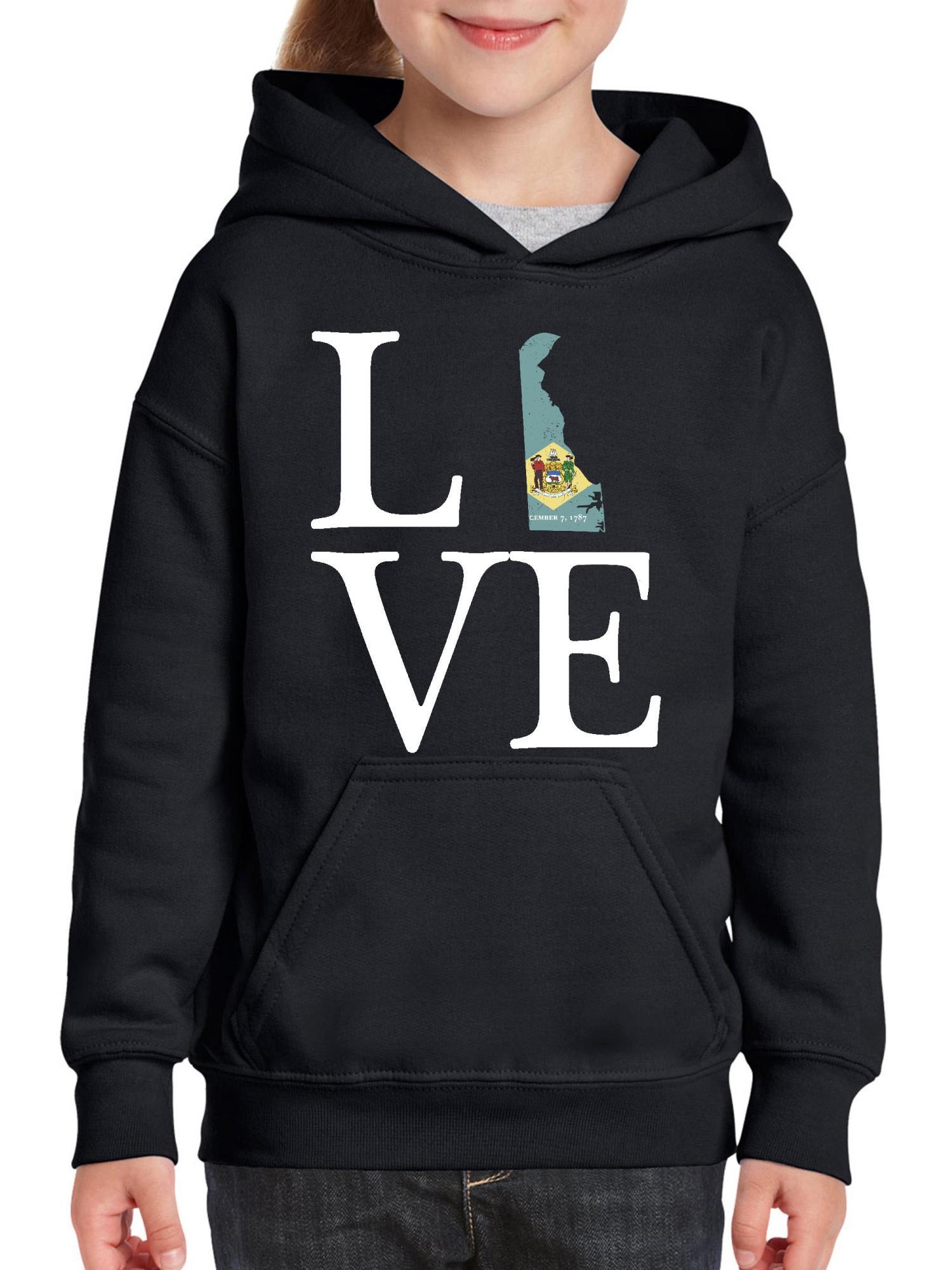 Love Delaware Youth Hoodie Hooded Sweatshirt