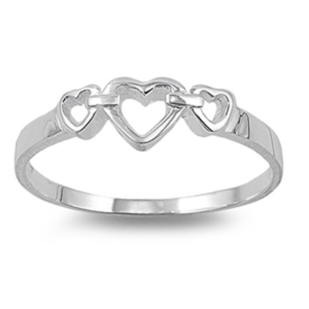 High Polish Heart Purity Promise Ring New .925 Sterling Silver Band Size 10