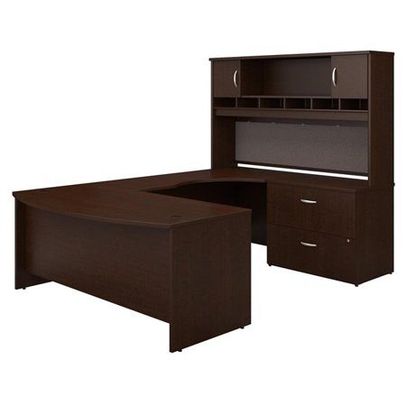 Bush Business Furniture SRC005MRRSU 72 in. Series C Right Handed Bow Front U-Shaped Desk with Hutch & Storage - Mocha