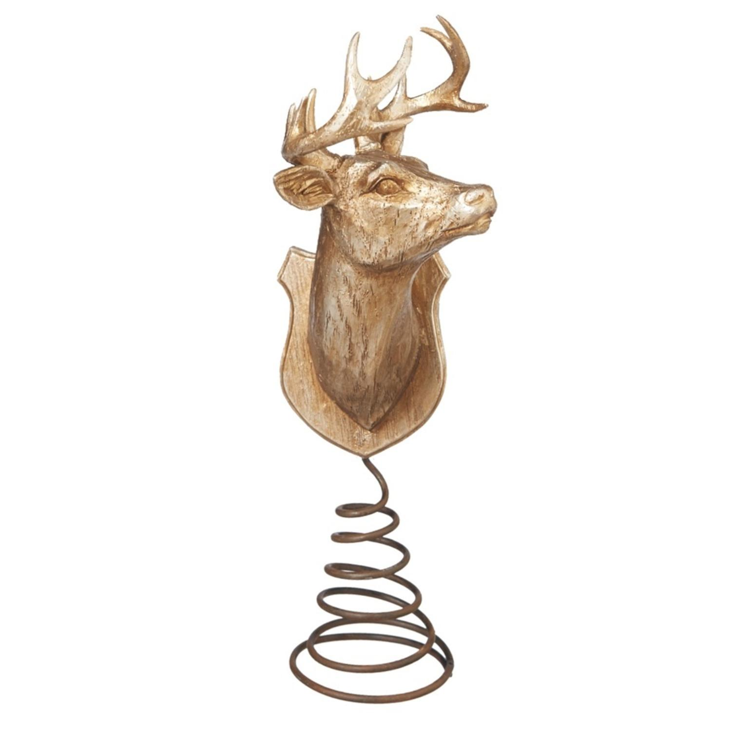 Lodge champagne gold wood look reindeer christmas tree topper unlit