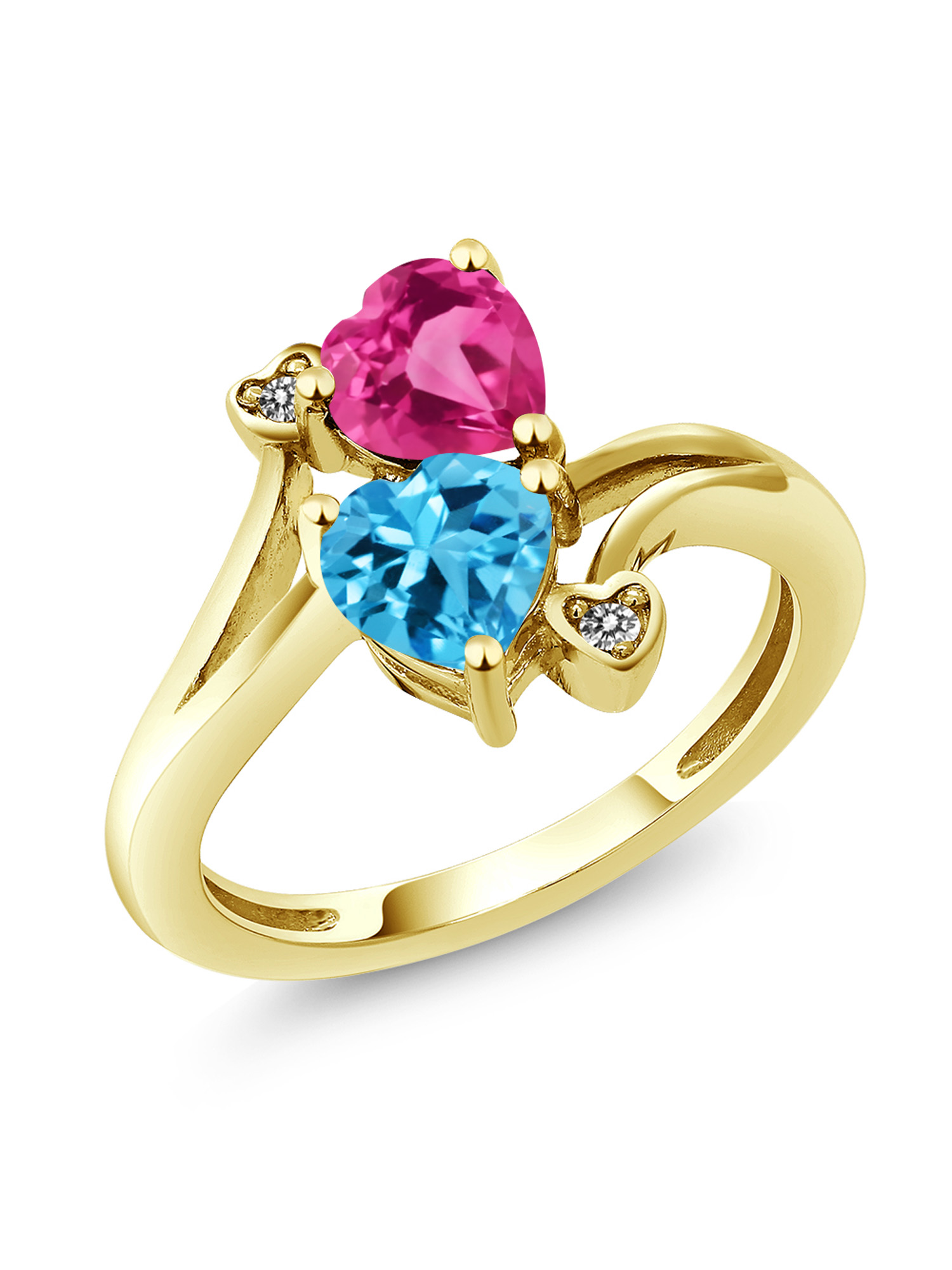 1.78 Ct Heart Shape Swiss Blue Topaz Pink Created Sapphire 10K Yellow Gold Ring by