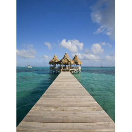Belize, Ambergris Caye, San Pedro, Ramons Village Resort Pier and Palapa Print Wall Art By Jane Sweeney ()