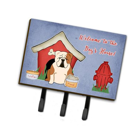 Bulldog Leash Holder (Dog House Collection English Bulldog Fawn White Leash or Key)