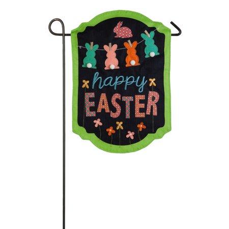 Evergreen Flag & Garden Happy Easter Chalkboard Banner 2-Sided Polyester 1'6'' x 1'1'' Garden Flag