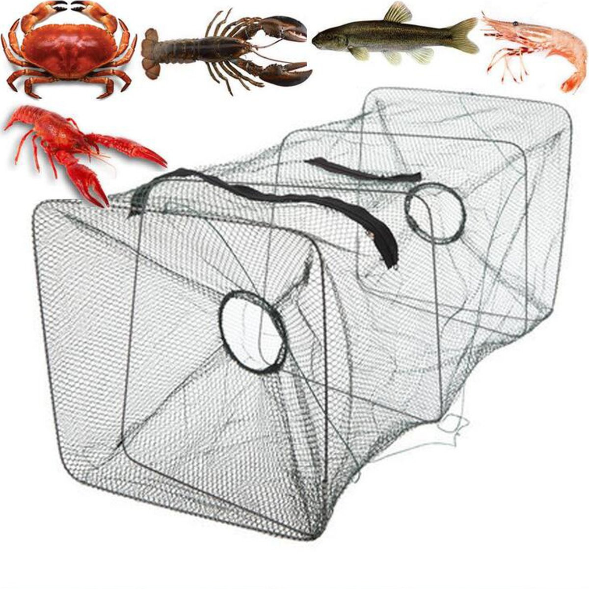 Fishing Net Foldable Crab Net Trap Cast Dip Cage Fishing Bait Fish Minnow Crawfish Shrimp (Size: 21x20.5x 45cm)