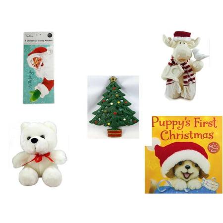 "Christmas Fun Gift Bundle [5 Piece] - Hallmark Expressions 6  Money Holders - Woodniks ""Finish It"" Moose w/ Birdhouse Resin Figure 8"" - Wrought Iron  Tree Trivet - Soft & Cuddly White Teddy Bear  6"""