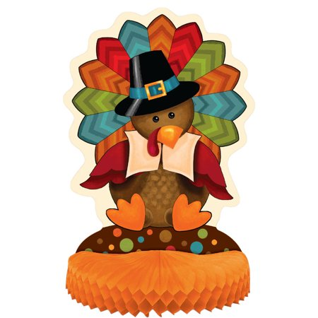 (4 pack) Cute Turkey Thanksgiving Centerpiece Decoration, 14 in