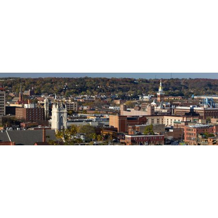 Elevated view of cityscape, Dubuque, Dubuque County, Iowa, USA Print Wall Art ()