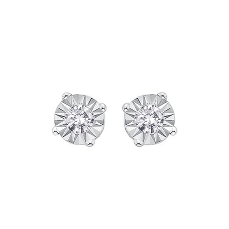 0568eb271 KATARINA - Illusion Set Diamond Stud Earrings in 10K White Gold (1/6 cttw,  G-H, I2-I3) - Walmart.com