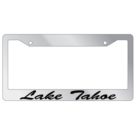 Lake Tahoe Script Chrome Plastic License Plate Frame EBS