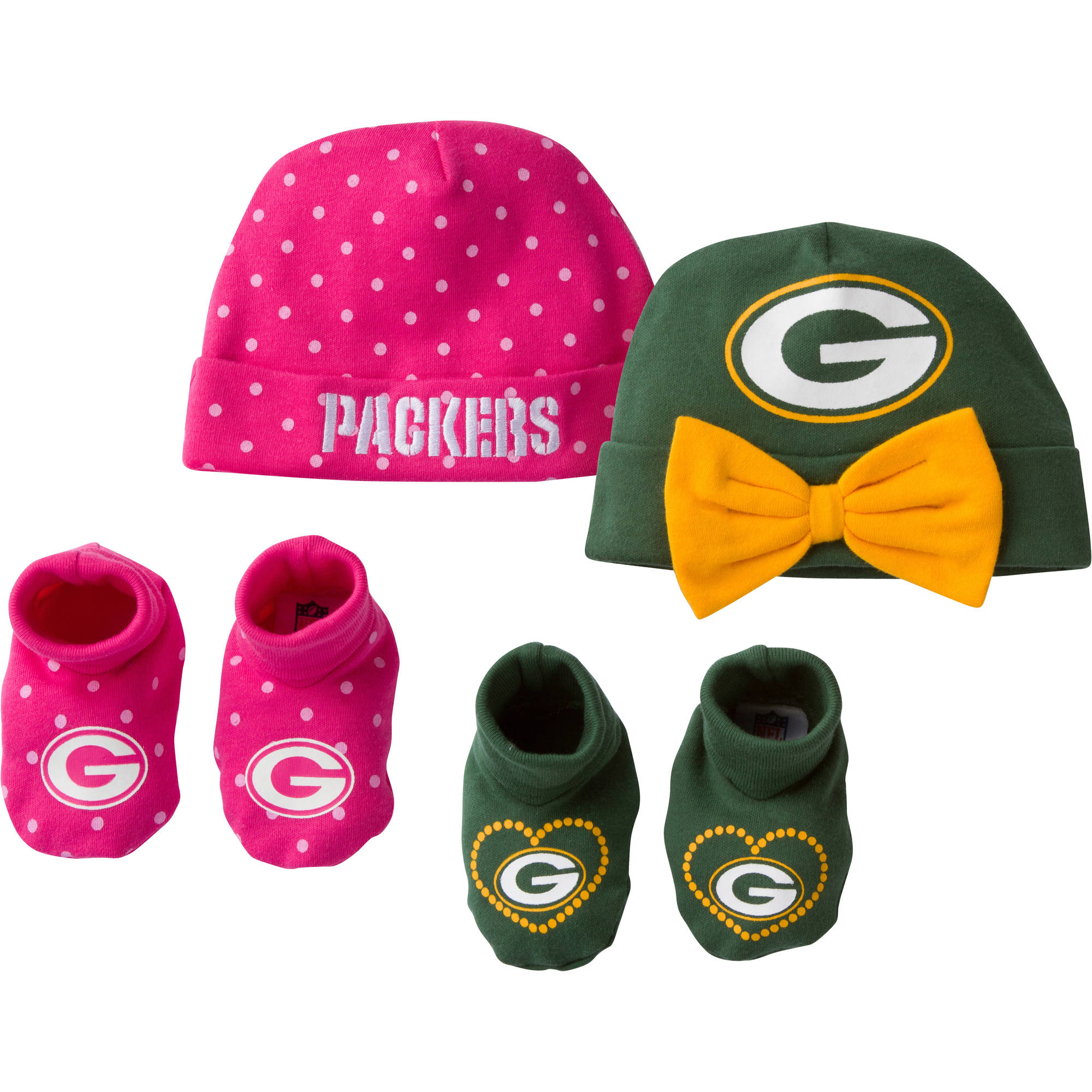 NFL Green Bay Packers Baby Girls Accessory Set, 2 Caps and 2 Booties, 4-Piece