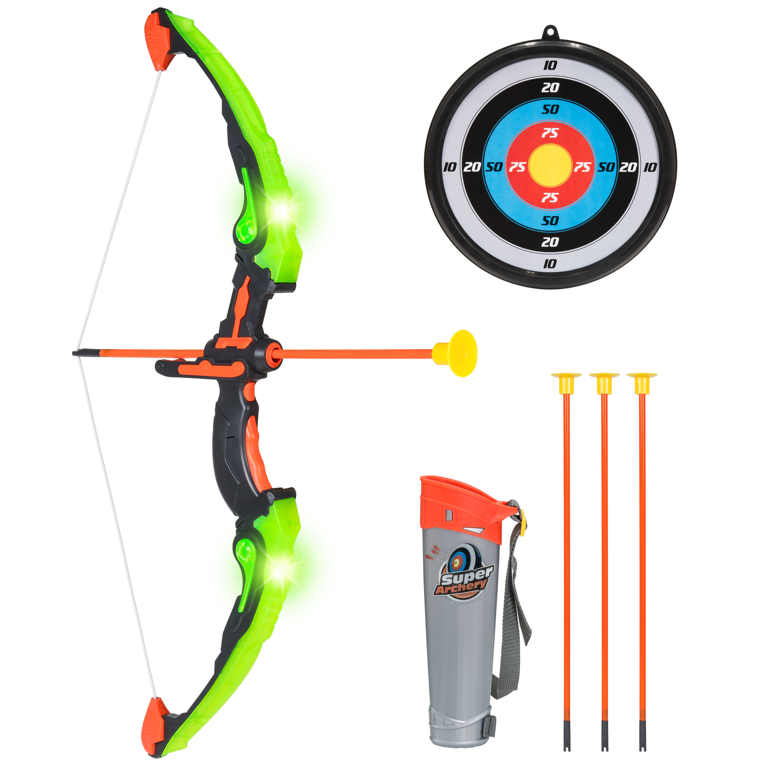 Best Choice Products Light Up Kids Archery Bow and Arrow Playset w/ 3 Light Modes, Suction Darts, Holder, Target - Green