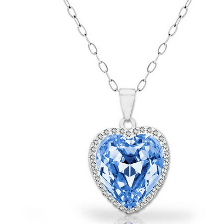 A Blue Topaz 18kt White Gold-Plated Sterling Silver Halo Heart Pendant