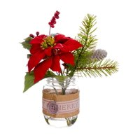 """9.5"""" Country Cabin Artificial Poinsettia, Berries and Pine Tree Needles Winter Floral Arrangement"""