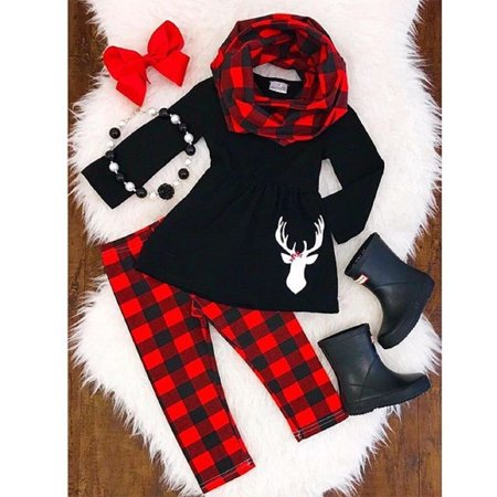 Children Christmas Clothing (3PCS Toddler Kid Baby Girls Xmas Outfits Clothes Long Sleeve T Shirt Dress Tops+Leggings+Scarf)