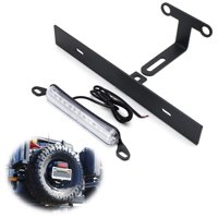 iJDMTOY Rear Spare Tire Mount License Plate Relocator Bracket w/ 12-SMD LED License Plate Light For 2007-2017 Jeep Wrangler JK