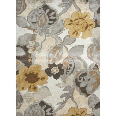 9' x 12' Caramel, Gray and Brown Petal Pusher Modern Wool and Art Silk Area Throw Rug
