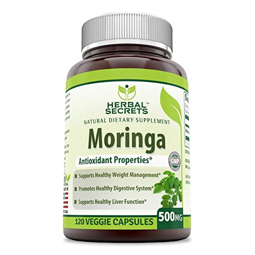 Herbal Secrets Moringa Dietary Supplement - 500 mg Moringa Oleifera Extract - 120 Vcaps Per Bottle- Supports Healthy Weight Management- Promotes Digestion and Liver Function