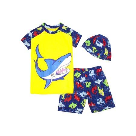 9929e4ba0b Kids Boy Cartoon Dinosaur Shark Rashguard Top & Swim Shorts with Hat ...
