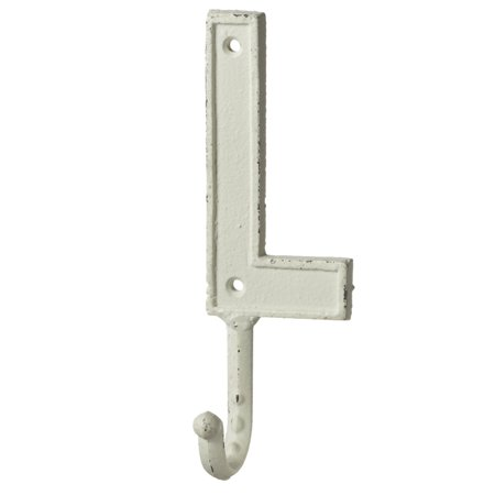 Monogram Letter L Single Wall Hook Painted Cast Iron 7.5 Inch