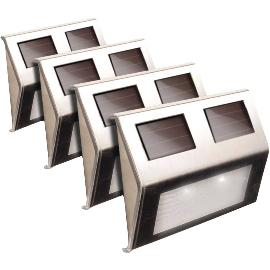 Maxsa Stainless Steel Solar Deck Lights, 4 Pack, 47334-ss