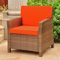 Pemberly Row Patio Chair in Brown and Tangerine by Pemberly Row