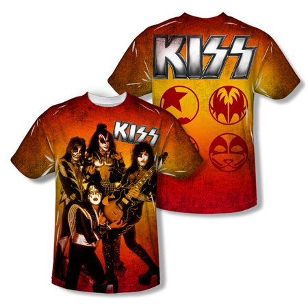 KISS Men's  Fire Pose Sublimation T-shirt (Best Yoga Poses For Back And Neck Pain)