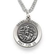.925 Sterling Silver Round Saint St. Michael the Archangel Protection Patron Medal Pendant comes with a 20'' chain Necklace in a deluxe velvet box