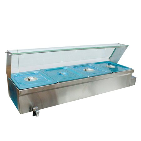 46×14×15in 4-Pan Buffet Bain-Marie Food Warmer 1500W 110V Steam Table Stainless (Pan Warmers)