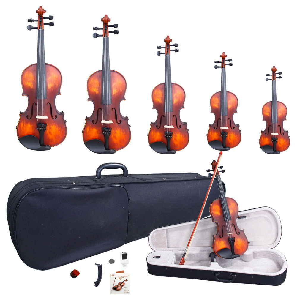 Zimtown Glarry 5 Sizes Matte Spruce Wood Acoustic Violin Package + Case+Bow+Extra String