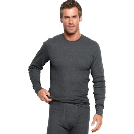Alfani 2-Pack Thermal Knit Waffle Crew Shirt Large L Long Sleeve Grey Base Layer