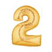 40-Inch Giant Gold Foil Balloons, Shiny Mylar, Number 2, Metallic Gold