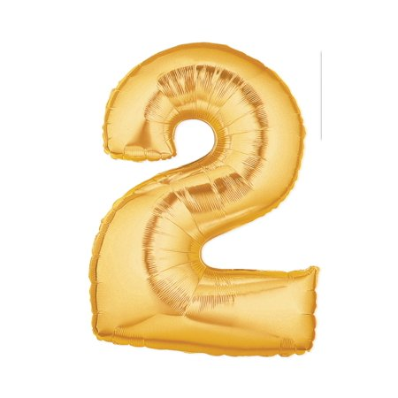 Mylar Number Balloons (40-Inch Giant Gold Foil Balloons, Shiny Mylar, Number 2, Metallic)