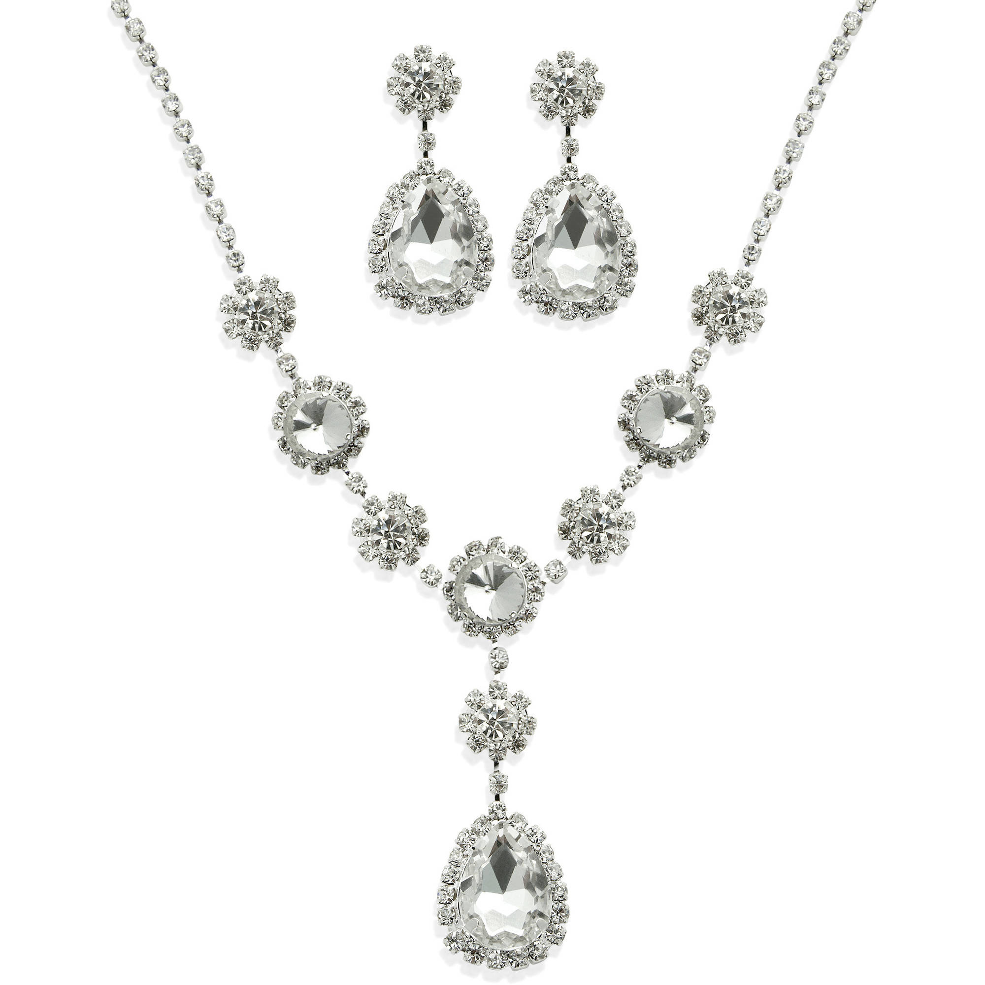 Glass Crystal Rhinestone Silver-Tone Teardrop Necklace and Earring Set, 16.5