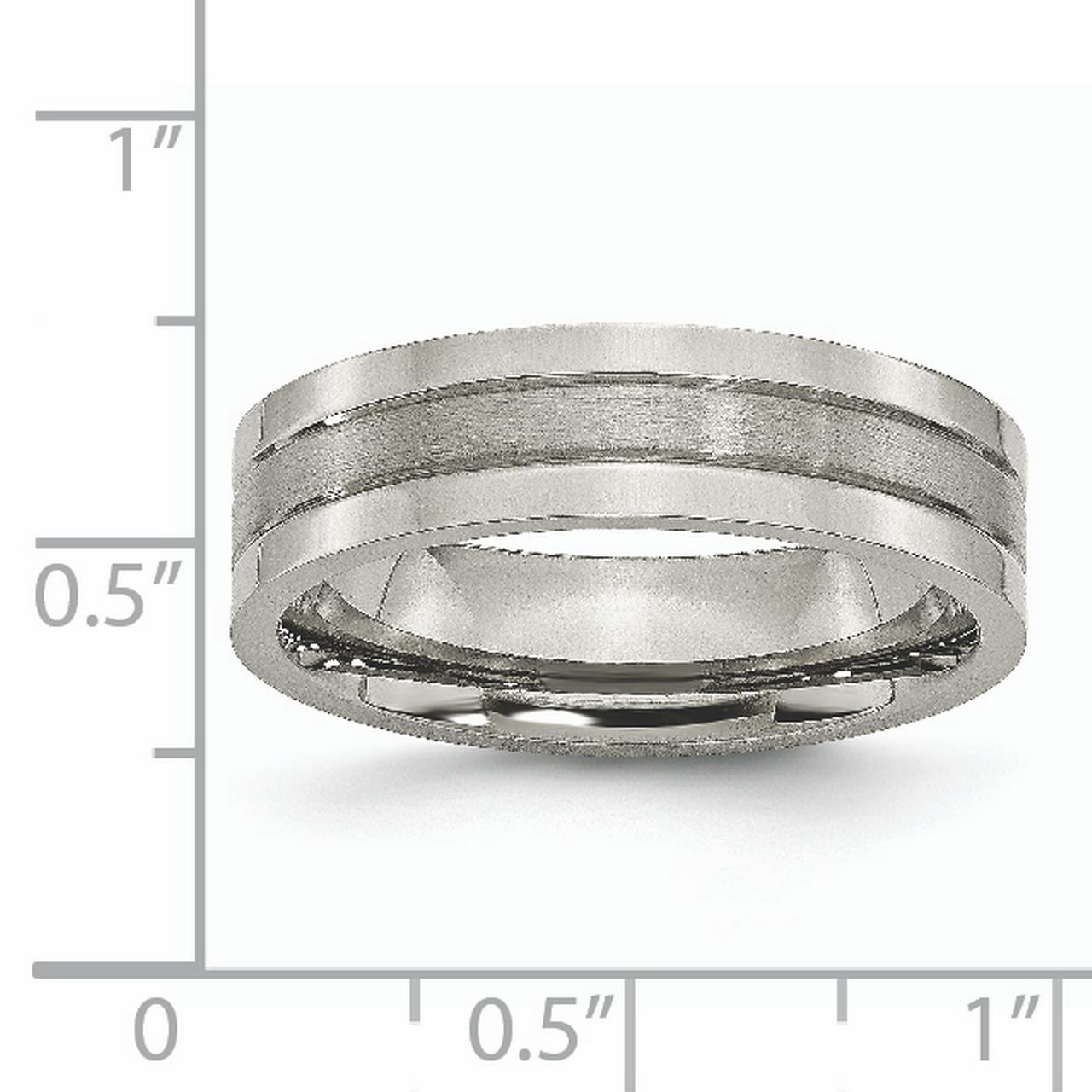 Titanium Grooved 6mm Brushed Wedding Ring Band Size 11.50 Fashion Jewelry Gifts For Women For Her - image 1 de 6
