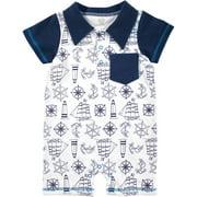 Newborn Baby Boys Nautical Print Romper