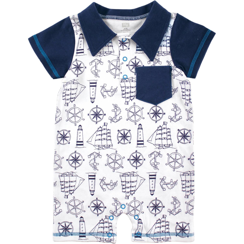 Hudson Baby Newborn Baby Boys Nautical Print Romper