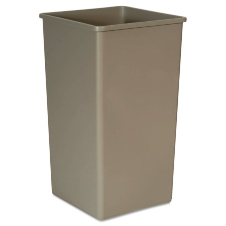 Rubbermaid Commercial Untouchable Waste Container, Square, Plastic, 50 gal, Beige