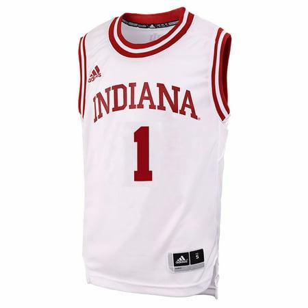 buy popular acefa 08edb Indiana Hoosiers NCAA Adidas Boys White Official #1 Home ...