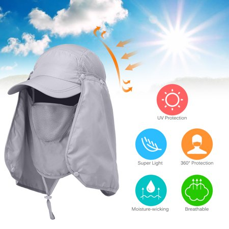 Outdoor Sport Hiking Visor Hat UV Protection Face Neck Cover Fishing Sun Protection -