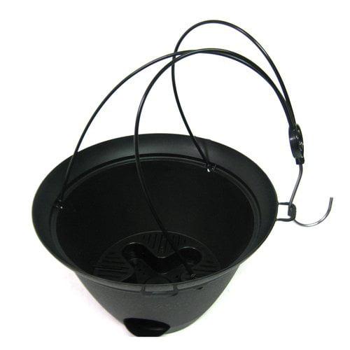 "Image of 12"" Flare Self-Watering Plastic Hanging Basket, Black"